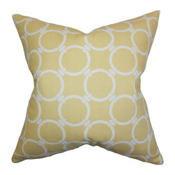 The Pillow Collection - Betchet Geometric Pillow Saffron Yellow - Spruce up your space with this gorgeous throw pillow. This accent piece features a geometric pattern in shades of yellow and white. Offer comfort and style to your sofa, bed or seat by adding a few pieces of this charming pillow together with other designs. Made of 100% soft cotton material and crafted in USA.