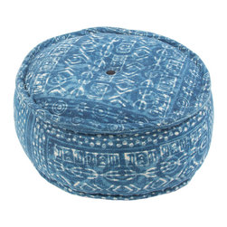 Jaipur Rugs - Dabu Spill Pouf, Indigo - Dabu cotton Poufs use a resist dying process to create interesting patterns. This technique will have some variation in color due to the length of time that the die is applied.