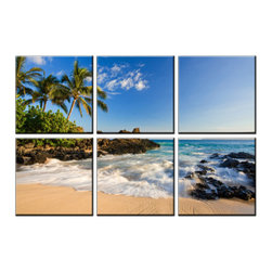 Vibrant Canvas Prints - Canvas Art Prints, Framed 8 Panel Sea Beach Painting - This is a beautiful, 100% quality cotton canvas print. This print is perfect for any home or office, and will make any room shine with its addition of color and beauty.  - Free Shipping - Modern Home and Office Interior Decor   Beach Canvas Designs - 6 Panel Print   Sea Beach Wave Print on Canvas - Wall Art - 30 Day Money Back Guarantee.