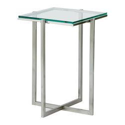 "Adesso - Glacier Small Pedestal in Satin Steel - Four satin steel legs hold a pane of shimmering glass aloft, and cross one another at the base of the artistic, very contemporary piece.  The glass is strong and safe, 1/4"" thick, and is tempered for good looks.  This table will look fantastic in any artistically-inclined home - in the living room, the dining room, or even in a restaurant or club.  The Steel & Glass Short Pedestal Table stands just under 20 inches high and features a quarter-inch thick clear tempered glass top.  Place a gorgeous plant or piece of art atop this pedestal table. * 0.25 in. Tempered clear glass top with Satin steel legs and frame. 14.25 in. Sq. x 19.5 in. H. Glass: 12.5 in. Sq.. Criss-crossed base: 10.5 in. W"