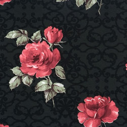 Walls Republic - Pleasant Black & Red Wallpaper R1524, double roll - Pleasant offers a painterly classic floral rose overlaid on a classic ornamental trellis pattern with fleur de lis and swirling line work. This pattern is a fusion of classic traditional motifs in a contemporary style. In both classic and contemporary colour schemes Pleasant is the perfect backdrop in a bedroom for a romantic ambiance.