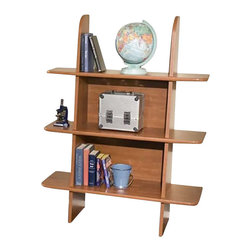Berg Furniture - Berg Furniture Ladder 3 Shelf Wood Bookcase in Chestnut - Berg Furniture - Bookcases - 231410 - This Berg Bookshelf will fit under the Utica Loft collection loft beds or match any Berg Furniture pieces as a standalone unit against a wall.