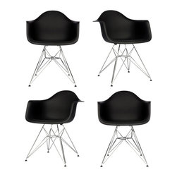 Ariel - Set of 4 Eames Style DAR Black Dining Armchair w/ Steel Eiffel Legs - Featuring a seat shell can be joined with a variety of different bases, the Set of 4 Eames Style DAR Molded Plastic Dining Armchair with Steel Eiffel Legs is the perfect addition for the dining area or home office. Can be used with seat and back cushions for added comfort. Available in multiple colors.