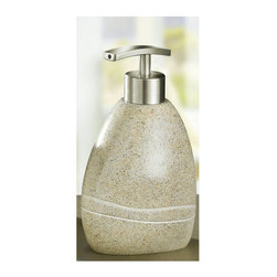 Unique Stone Soap Dispenser 10oz, Sand Beige - We have never seen anything like this!  This polyresin soap dispenser is heavy in weight and looks exactly like it was carved from a granite boulder.  Smooth finish with carved accent in the side.  Just gorgeous.  Brushed chrome finish pump. Designed and produced in Germany.  Dispenser (W) 3.75in x (H) 6.5in - Holds 13.5oz of soap or lotion.