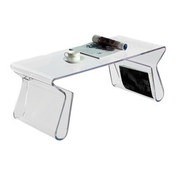 Modern clear bent acrylic coffee table Visby - Modern clear bent acrylic coffee table Visby features two integrated in table base magazine stands. That doubles as storage space for magazines and other print materials.