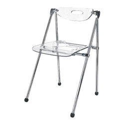None - Acrylic Folding Chair (Set of 2) - This chrome folding chair set showcases two chairs with clear acrylic seats and backs. Constructed with thick, durable acrylic and chrome, these chrome folding chairs will endure much use and retain their crisp appearance and sleek design.