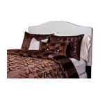 SIS Covers - SIS Covers Casablanca Duvet Set - 6 Piece King Duvet Set - 5 Piece Twin Duvet Set Duvet 67x88, 1 Std Sham 26x20, 1 16x16 dec pillow, 1 26x14 dec pillow. 6 Piece Full Duvet Set Duvet 86x88, 2 Std Shams 26x20, 1 16x16 dec pillow, 1 26x14 dec pillow. 6 Piece Queen Duvet Set Duvet 94x98, 2 Qn Shams 30x20, 1 16x16 dec pillow, 1 26x14 dec pillow. 6 Piece California King Duvet Set Duvet 104x100, 2 Kg Shams 36x20, 1 16x16 dec pillow, 1 26x14 dec pillow6 Piece King Duvet Set Duvet 104x98, 2 Kg Shams 36x20, 1 16x16 dec pillow, 1 26x14 dec pillow. Fabric Content 1 80 Polyester, 20 Nylon, Fabric Content 2 80 Polyester, 20 Nylon, Fabric Content 3 100 Polyester. Guarantee Workmanship and materials for the life of the product. SIScovers cannot be responsible for normal fabric wear, sun damage, or damage caused by misuse. Care instructions Dry Clean Only. Features Reversible Duvet and Shams