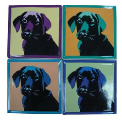 WL - 4 Inch Square Pop Art Inspired Black Lab Ceramic Coasters Set of 4 - This gorgeous 4 Inch Square Pop Art Inspired Black Lab Ceramic Coasters Set of 4 has the finest details and highest quality you will find anywhere! 4 Inch Square Pop Art Inspired Black Lab Ceramic Coasters Set of 4 is truly remarkable.