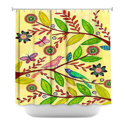 DiaNoche Designs - Shower Curtain Artistic - Sunny Day - DiaNoche Designs works with artists from around the world to bring unique, artistic products to decorate all aspects of your home.  Our designer Shower Curtains will be the talk of every guest to visit your bathroom!  Our Shower Curtains have Sewn reinforced holes for curtain rings, Shower Curtain Rings Not Included.  Dye Sublimation printing adheres the ink to the material for long life and durability. Machine Wash upon arrival for maximum softness. Made in USA.  Shower Curtain Rings Not Included.