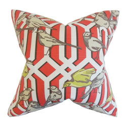 "The Pillow Collection - Bela Aviary Pillow, Poppy 20"" x 20"" - Add a floral touch to your living space with this accent pillow."