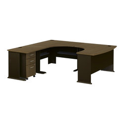 Bush - Bush Series A 4-Piece U-Shaped Left-Hand Computer Desk in Sienna Walnut - Bush - Computer Desks - WC25566PKG1