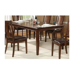 Alpine Furniture - Bradbury Extension Dining Table - Chairs not included. Rectangular shape. Six months warranty. Made from rubber wood solids and cherry veneer. Cappuccino finish. Made in Vietnam. Minimum: 66 in. L x 42 in. W x 30.25 in. H. Maximum: 82 in. L x 42 in. W x 30.25 in. H