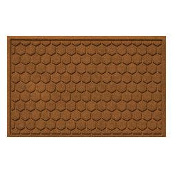 Bungalow Flooring - Aqua Shield 2'x3' Honeycomb Doormat, Dark Brown - Premium 24-oz. anti-static polypropylene mat traps dirt, water and mud.