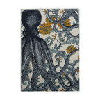 "Thomas Paul - Octopus Vineyard Bath Mat - The Thomas Paul Octopus Vineyard bath mat features a hand screened print on 100% cotton. The bath mat features two of our favorite themes: nautical imagery and floral designs. The design features an octopus overlayed on a yellow & blue floral print. The bath mat measures 36"" x 24"". The yellow & blue color adds a fun pop of color to your bathroom.   About the Artist: After graduating from NYC's famed FIT, Thomas Paul started his career as a colorist and designer at a silk mill. Eventually, he leveraged his knowledge of silk materials & print to launch a neckwear line of his own. Over time, Paul loved the idea of applying menswear print and design into a collection of home decor, which is what we see in his goods today. His background has embedded in him a passion for quality production techniques. Even as his brand grows, he continues to ensure all of his prints are hand screened - a slow, detailed process that results in each piece being a unique piece of artwork. Paul also pushes the envelope in terms of bold prints and hand ground materials.       ""My vision for the thomaspaul brand has always been about combining classic design motifs from different periods in textile design. Incorporating anything from an 18th century Damask pattern to a camouflage print. The unifying thread between so many different styles is to change the designs so they are updated for today. For me this means changing the scale, so they are always bold, and reducing down the colors and details, so most designs are reduced to two or three colors and become very flat, bold prints. I am always looking to vintage fabrics and motifs for inspiration and new ideas, but always try to update these to look good for today."" - Thomas Paul   Product Details:"
