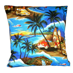 "Mid Century Home USA - Mid Century Tropical Hawaiian Retro Pillow Cover ""Woody Beach Party"" - This pillow was freshly made using a very unique whimsical 1950's fabric (not barkcloth), very 1950's!  The design is ""Woody Beach Party 2"", complete with the Woody stationwagon, surf boards, plane, ocean and palm trees.  This interesting design is on a medium-weight cotton fabric.  Colors are vibrant!  The back of the pillow is a coordinating deep blue duck cloth canvas which helps the pillow hold its shape.   The seams are professionally serged to prevent fraying.  The pillow insert is NOT included, please view pictures without the pillow insert as well.  The pillow is 19"" X 19"", use a ""20"" insert to ensure a very plump pillow.  This is a ""one of a kind"" pillow."