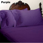 SCALA - 600TC Stripe Purple Full XL Flat Sheet & 2 Pillowcases - Redefine your everyday elegance with these luxuriously super soft Flat Sheet . This is 100% Egyptian Cotton Superior quality Flat Sheet that are truly worthy of a classy and elegant look.