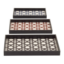 Lovely And Classy Wood Vinyl Trays, Set of 3 - Description: