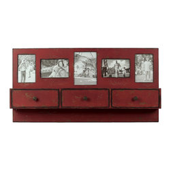 Take Me Back Shelf - With its distressed design and photo holders, this clever storage shelf hearkens back to the architecture and design of centuries past. Hang it on a wall in the hallway to show off family, friends, and precious mementos.
