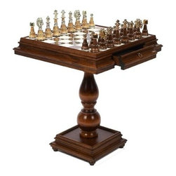 Cambor - Italian Made Game Table w Inlaid Alabaster Top & 2 Drawers - Chess and checkers not included. Made of Wood/Alabaster. Brown/White finish. Solid Wood table with two storage drawers. Inlaid with genuine Italian Alabaster. Made in Italy. Squares: 2.5 in.. 23.5 in. L x 23.5 in. W x 27.375 in. H (48 lbs.)