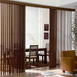 """Real Wood Vertical Blinds. Free Samples and Shipping! - Real Wood Vertical Blinds - Buy with Confidence, Get Free Samples Today!Our New Real Wood vertical blinds give you the richness and warmth of genuine real wood at a cost that is much less than other national brands. These verticals are a great solution for covering sliding patio doors. Available in 3 1/2"""" flat or 4"""" s-curved"""