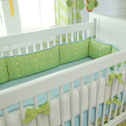 Lime Charades Crib Bumper - The crib bumper features Natural Minky Chenille along the outside with a plush interior of Citrus Pom Poms. Ties of Solid Citron and piping in Solid Aqua add the perfect touch to this bumper.
