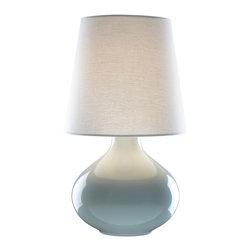 Rejuvenation: Bedroom - Our June Ceramic Table Lamp in Celadon includes a hardback white linen drum shade.