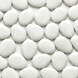 Glass Tile Oasis - Nejin Pebbles and Stones White Freeform Series Glossy Glass - As glass is infused with color during manufacturing process, color may vary. Each pebble is hand sorted and individually glued onto backing.