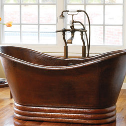 """NATIVE TRAILS 72"""" AURORA ANTIQUE BATHTUB - Forget the cares of the world with a luxuriously restful soak in Aurora, and let its old world elegance become the striking focal point of your bathroom. This artisan crafted copper bath tub is designed for sumptuous comfort and visual delight. Aurora copper tub is artisan crafted; forged of high-quality recycled copper. It takes thousands of hammer strikes to create these functional pieces of art for your home. Add a unique piece to your design as a showstopper."""
