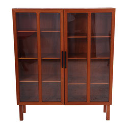 Danish Teak Two Door Biblioteque - A solid teak Danish bookcase refinished by Mission Avenue Studio. Inside the two glass doors are eight adjustable shelves.