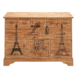 """Benzara - Classic Designed Wood Dresser Drawer in French Design - Brandishing French designing, this wooden dresser has a simple construction yet looks sophisticated. Designed with fine attention to detail, this wood dresser drawer is apt for your bedroom. If you are fashion indulgent and are particular about your looks then this dresser is a must have. Intricately chiseled and shaped to save space, this dresser accommodates all your essentials. It is well sized and displays 15 drawers to help you store your essentials in an orderly manner. Every drawer has a knob to keep your essential close at hand. The exterior of the dresser is imprinted with various graphic representations of the Eiffel Tower. This is also a good gifting option. The table is sturdy in make and is highly functional. Made out of sturdy wood, it has a rustic appearance and blends well with any kind of decor. Durable and sturdy, it is sure to last for long time.; Sturdy in make; Highly durable; Has 15 drawers; Well sized; Weight: 44.1 lbs; Dimensions:45""""W x 16""""D x 33""""H"""