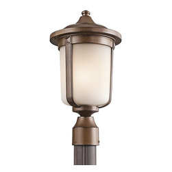 Kichler Lighting - Kichler Lighting Gadsden Transitional Outdoor Post Lantern Light X-TSB01594 - Fluid lines give a more organic feel to this otherwise traditional styled Kichler Lighting outdoor post lantern light from the Gadsden Collection. This traditional post light features turned detailing, metal bands and diamond accents that are all constructed of cast aluminum and finished in a charming Brown Stone hue. A soft-toned satin etched glass shade adds to the appeal.