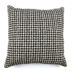 KOVI Home Decor - Houndstooth Decorative Pillow Cover, Down Alternative Pillow Insert - The Houndstooth Pillow Cover is crafted from Olefin/Polyester commercial grade fabric. This classy black and white houndstooth pattern is soft, but thick and durable woven fabric. This pillow cover is handmade with a concealed zipper for easy removal and cleaning. The pattern is woven into the fabric, therefore the pillow cover will retain the color and is much more durable than a printed pattern.