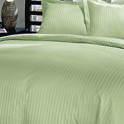 Blue Ridge Home Fashions - Sage Damask Stripe 250-Thread Count Duvet Cover Set - Add this elegant and incredibly soft duvet cover to any bed to make counting sheep a thing of the past. Whether updating the master bedroom or guestroom, this piece of bedding is sure to warm up décor.   Includes duvet cover and two shams (twin sizes include one sham) 100% cotton 250-thread count Machine wash Imported