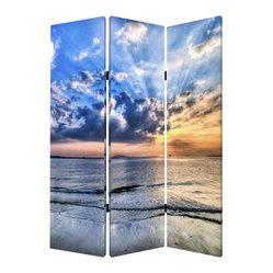 SEASIDE SERENITY SCREEN - Every day can be a day at the beach when you place this vivid screen in your home. The gorgeous seascape is printed across all three panels, with a different part of the ocean on each side. Let the sunshine in with this calming, modern screen in your room.