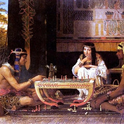 """Sir Lawrence Alma-Tadema Egyptian Chess Players  Print - 16"""" x 24"""" Sir Lawrence Alma-Tadema Egyptian Chess Players premium archival print reproduced to meet museum quality standards. Our museum quality archival prints are produced using high-precision print technology for a more accurate reproduction printed on high quality, heavyweight matte presentation paper with fade-resistant, archival inks. Our progressive business model allows us to offer works of art to you at the best wholesale pricing, significantly less than art gallery prices, affordable to all. This line of artwork is produced with extra white border space (if you choose to have it framed, for your framer to work with to frame properly or utilize a larger mat and/or frame).  We present a comprehensive collection of exceptional art reproductions bySir Lawrence Alma-Tadema."""
