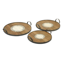 """Imax Worldwide Home - Benito Wood and Metal Trays - Set of 3 - This set of three Benito trays feature the Wine Growers Association emblem of San Benito county are made from recycled wood come in a set of three sizes. This is a beautiful versatile set of trays that work for a variety of uses.;Features: Materials: 50% Recycled Wood, 50% Wire;Country of Origin: Philippines;Weight: 30.8 lbs;Dimensions: 3.5""""h x 16.25-18.25-20.50""""d"""
