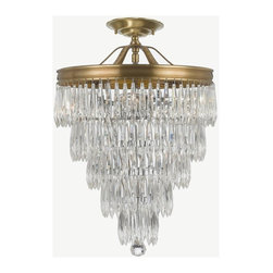 Crystorama - Crystorama-120_CEILING-Chloe - Six Light Semi-Flush Mount - Clear hand polished plug drop crystal accents with Aged Brass finish on a brass frame.