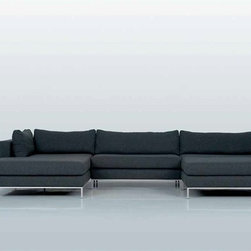 Ahlmeda Double Chaise Sectional - Featuring a unique multi-chaise lounge configuration, soft padded seating and contemporary styling, this Ahlmeda Sectional instantly enhances any decor.