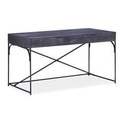 ZUO - Potrero Hill Desk - Urban with a graceful edge, the Potrero Hill Desk is made of brushed metal in distressed black. Three drawers hold essentials and the crossing metal rods at the back add interest. Make a vintage space more intriguing or use as a bold dark element in a bright room.