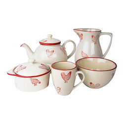 100 Essentials - 13-Pc Barnyard Coffee Set - This 13 pieces Set features 1 tea or coffee pot, 1 sugar bowl, 1 creamer, 6 small mugs (6 oz), 4 bowls. Stoneware, handmade painted, country style, red and white. Dishwaser and microwave safeVintage-inspired Banyard Dinnerware brings a cozy country touch to the table.