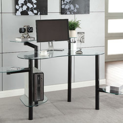 """Coaster - Computer Desk, Black - Create a unique home office of your own with this contemporary computer desk. This desk offers plenty of work space along with four rounded swivel shelf extensions for keeping personal items or supplies close at hand. Finished in black.; Contemporary Style; Finish/Color: Black; Dimensions: 45.75""""L x 37""""W x 36.25""""H"""