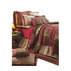 VHc Brands - Tacoma Queen Quilt, Log Cabin Bedding by VHC Brands - Tacoma is a richly colored log cabin style queen quilt with beautiful texture and exquisite detailing by Victorian Heart with rustic reds, browns, cream and tan.  Oversize. 100% Cotton. Quilt only is being purchased.