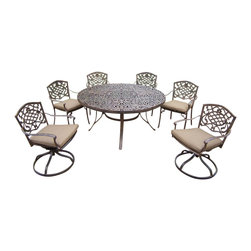Oakland Living - 7-Pc Round Patio Dining Set - Includes one round table, four stackable and two swivel rocker chairs with cushions. Metal hardware. Fade, chip and crack resistant. Umbrella hole. Center of table can be replaced with ice bucket. Traditional lattice pattern and scroll work. Warranty: One year limited. Made from rust free cast aluminum. Antique bronze hardened powder coat finish. Minimal assembly required. Table: 60 in. Dia. x 29 in. H (70 lbs.). Stackable chair: 23 in. W x 22 in. D x 35.5 in. H (25 lbs.). Swivel chair: 23 in. W x 17.5 in. D x 38 in. H (33 lbs.)This 60 inch 7 piece dining set is the prefect piece for any outdoor dinner setting. Just the right size for any backyard or patio. The Oakland Mississippi Collection combines southern style and modern designs giving you a rich addition to any outdoor setting. Each piece is hand cast and finished for the highest quality possible.