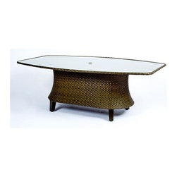 Woodard - Del Cristo Woven Oval Dining Table w Glass Top - Wicker frame. 80 in. D x 47 in. W x 28 in. H. All products are made to order. Orders cannot be cancelled after 5 calendar days. If order is cancelled after 5 calendar days, a 50% restocking fee will be applied.
