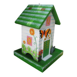 Home Bazaar Inc. - Butterfly Birdfeeder - Dark Green - This decorative birdfeeder is fully functional and intended for outdoor use. This whimsical feeder has a 3-D butterfly springing off of the front of the house. Window and door details as well as a watering can and hand painted sunflowers will greet your hungry birds. The back flap lifts up to a large cavity for easy filling. Loop the heavy duty nylon cord to the desired length and hang it where you can see the birds enjoying the seed of your choice.