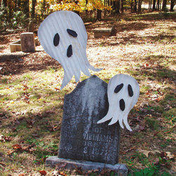 Reclaimed Metal Ghosts - Halloween decor has never been cuter. Made from recycled corrugated roof tin with riveted mouth and eyes, these pals of Casper are eco-friendly. They can be hung or used on the stake that is provided.