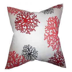 """The Pillow Collection - Coraline Coastal Pillow Pink - Let this nautical-inspired accent pillow fill your home with a fun vibe. Decorated with a coral pattern in shades of pink, black and red against a white background. This 18"""" pillow is perfect for your living room or bedroom. Made of 100% high-quality cotton material and constructed in the USA. Easy to pair with solids and other patterns."""