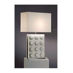 Nova Lighting - Nova Lighting 11780 26 Inch Standing Table Lamp - 26 Inch Contemporary / Modern Standing Table Lamp with White Fabric Shade from the Trudy CollectionFeatures: