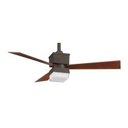 Fanimation - Fanimation The Kubix Ceiling Fan in Oil-Rubbed Bronze - Fanimation The Kubix Model FP4420OB in Oil-Rubbed Bronze with Reversible Cherry/Walnut Finished Blades. Integrated light fixture with Opal Frosted Glass for the Kubix.