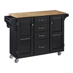 HomeStyles - Kitchen Cart in Black Finish - Enjoy simple elegance with this lovely kitchen cart!  It features a natural wood top, a rich black finish, and a side spice rack for maximum accessibility and adequate storage.  Its many compartments will hold all your kitchen needs. * Four easy open drawers. Natural wooden top. Two large cabinets and outdoor compartments. Sleek, stylish and sophisticated wood top. One end condiment rack with a towel bar. Other end features a paper towel holder. Four heavy duty locking rubber casters for easy mobility and safety. Clear coat finish helping to protect against wear from normal use. Made from wood and veneer. 48 in. L x 17.75 in. W x 35.5 in. H. Top Assembly InstructionHome Styles' Creat-a-Cart is a unique and refreshing solution for kitchen utility. Enjoy simple elegance with this lovely kitchen cart!